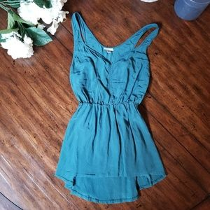 ECOTE | URBAN OUTFITTERS 100% Silk Teal Top Size S